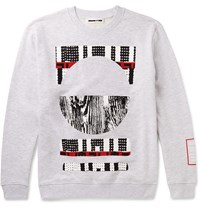 Mcq By Alexander Mcqueen Printed Loopback Cotton Blend Jersey Sweatshirt Gray