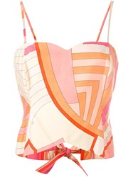 Emilio Pucci Vintage Abstract Print Top Yellow And Orange