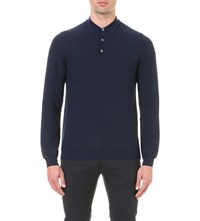 Slowear Long Sleeved Herringbone Wool Polo Shirt Blue