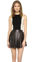 Alice Olivia Seamed Fitted Crop Top Black White