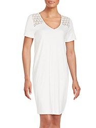 Hanro Short Sleeve Cotton Lace Sheath Dress Off White