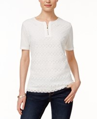Alfred Dunner Short Sleeve Lace Top Ivory