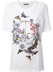 Alexander Mcqueen Moth And Skull Embroidered T Shirt White