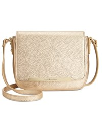 Tommy Hilfiger Jamie Pebble Leather Flap Crossbody Metallic Gold
