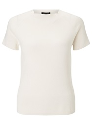 Bruce By Bruce Oldfield Short Sleeve Ribbed Knit Top Cream