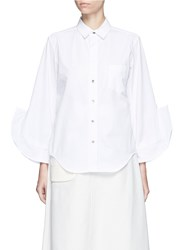 Toga Archives Ruffle Cuff Poplin Shirt White