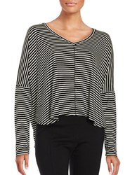 Project Social T Striped Dolman Top Black White
