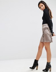 Asos A Line Ruffle Mini Skirt In Satin Silver