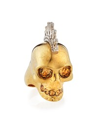 Two Tone Punk Skull Ring Alexander Mcqueen Gold
