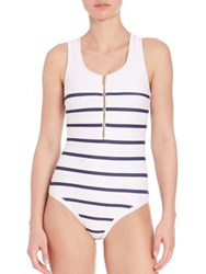 Heidi Klein One Piece Nantucket Binding Racerback Swimsuit Navy Stripe