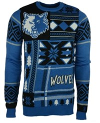 Forever Collectibles Men's Minnesota Timberwolves Patches Christmas Sweater Black Blue