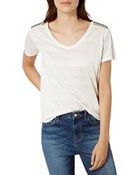 Karen Millen Studded Shoulder Tee White