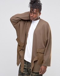 Asos Oversized Cardigan With Woven Pockets Khaki Green