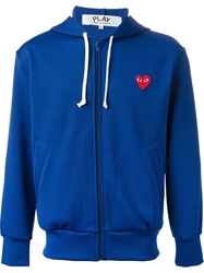 Comme Des Garcons Play Full Zipped Hoodie Blue