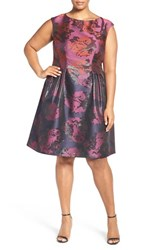 Vince Camuto Plus Size Women's Metallic Jacquard Fit And Flare Dress
