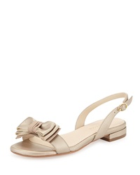 Inger Low Heel Bow Sandal Camel Gold Taryn Rose