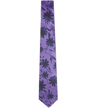 Duchamp Contrast Floral Silk Tie Purple