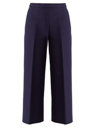 Msgm Mid Rise Wide Leg Crepe Culottes Navy