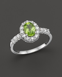 Bloomingdale's Peridot And Diamond Halo Ring In 14K White Gold Green White
