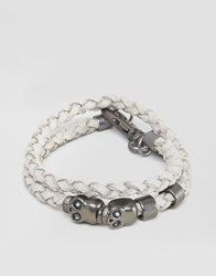 Icon Brand Plaited Skull Wrap Bracelet Grey