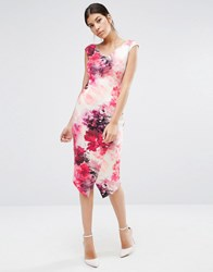 Coast Adra Pencil Dress In Print With Wrap Skirt Detail Multi