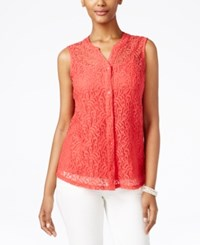 Styleandco. Style And Co. Petite Lace Button Front Blouse Only At Macy's Dark Rose