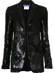 Ralph Lauren Geometric Sequined Pattern Blazer Black