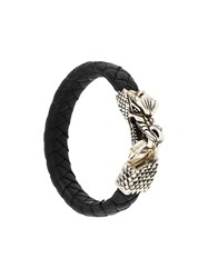 King Baby Studio Dragon Clasp Braided Bracelet Black