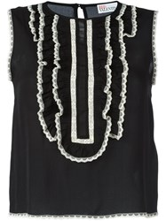Red Valentino Contrast Lace Trim Top Black