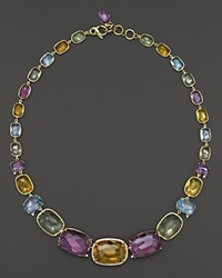 Vianna Brasil 18K Yellow Gold Necklace With Amethyst Blue Topaz Citrine Prasiolite And Diamond Accents 17 Multi Gold