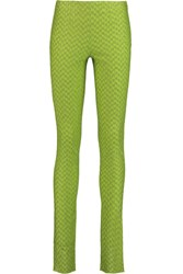 Missoni Metallic Crochet Knit Skinny Pants Green