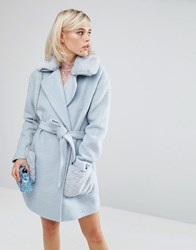 Lost Ink Oversized Smart Teddy Coat With Faux Fur Collar Blue