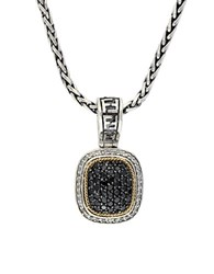 Effy Black Diamond Sterling Silver And 18K Yellow Gold Necklace