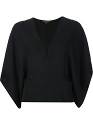 Narciso Rodriguez Batwing Sleeve V Neck Top Black