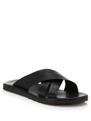 Saks Fifth Avenue Leather Criss Cross Sandals Black