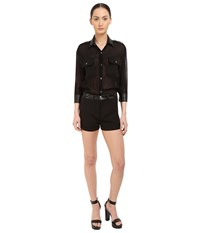 Philipp Plein You Are Here Sheer Romper Black Women's Jumpsuit And Rompers One Piece