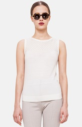 Akris Punto Perforated Yoke Wool Knit Tank Cream