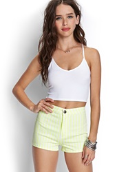 Forever 21 Striped Denim Shorts Neon Yellow Cream