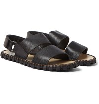 Valentino Grained Leather Sandals Black