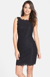 Petite Women's Adrianna Papell Boatneck Lace Sheath Dress Black