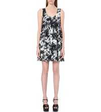 Saint Laurent Palm Tree Print Mini Dress Shell Noir