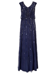 Ariella Petulia Blouson Beaded Maxi Dress Navy