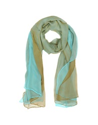 Laura Biagiotti Double Chiffon Silk Stole Light Blue Gold
