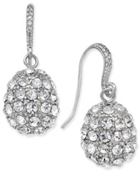 Charter Club Silver Tone Pave Cluster Drop Earrings Only At Macy's