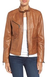 Bernardo Women's Kirwin Leather Jacket New Cognac