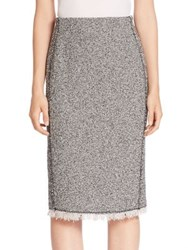 Rebecca Taylor Frayed Pencil Skirt Black Combo