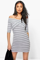 Boohoo Off The Shoulder Stripe Bodycon Dress Grey