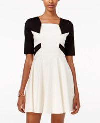 Xoxo Juniors' Colorblocked Fit And Flare Dress Ivory Black