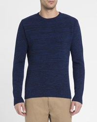 Oliver Spencer Blue And Navy Textured Round Neck Sweater