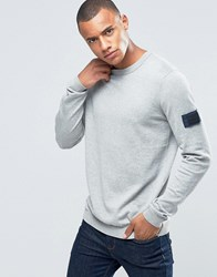 Jack And Jones Knitted Crew Jumper With Arm Badge Grey